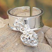 Sterling silver wrap charm ring, 'Wild Hearts' - Sterling Silver Charm Ring Mexico
