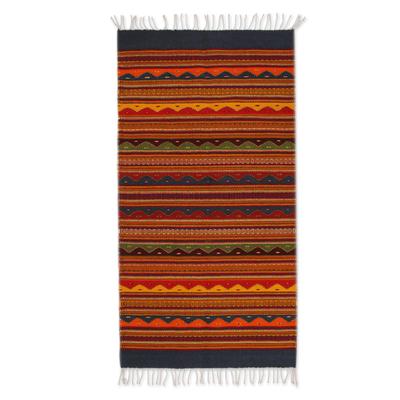Zapotec wool rug, 'Waves of Dawn' (3x5) - Zapotec wool rug