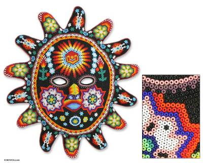 Beadwork mask, 'Guardian Sun' - Beadwork mask