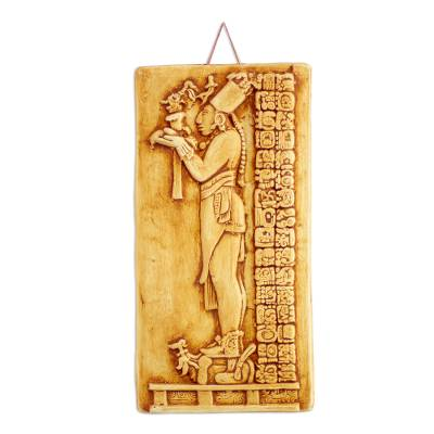 Ceramic wall panel, 'Maya Priest's Offerings' - Palenque Mayan Priest Handmade Ceramic Replica Wall Panel
