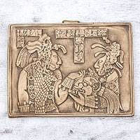 Ceramic wall plaque, 'Maya Ruler and Wife' - Ceramic Palenque Plaque