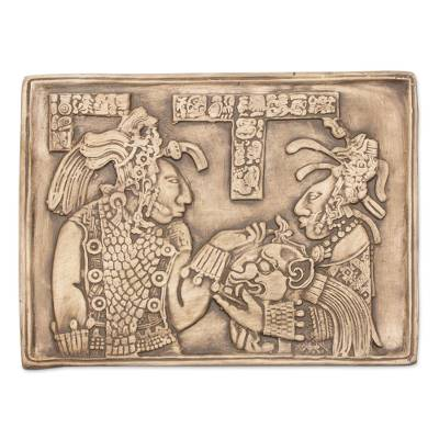 Ceramic wall plaque, 'Maya Ruler and Wife' - Handcrafted Ceramic Plaque Replica from Palenque