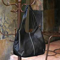 Leather shoulder bag, 'Urban Legend' - Black Leather Handbag from Mexico
