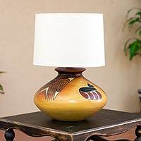 Ceramic table lamp, 'Archaeology Light' - Handcrafted Ceramic Table Lamp