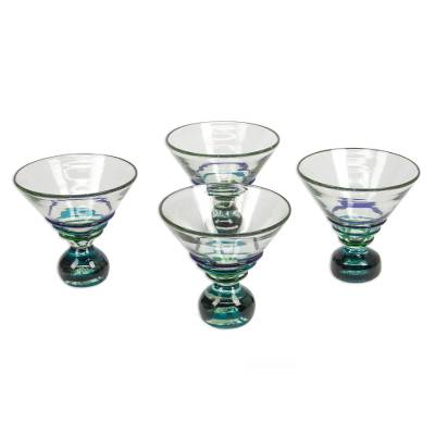 Martini glasses, 'Three Ribbons' (set of 4) - Martini Glasses Hand Blown Set of 4 Clear Blue Mexico