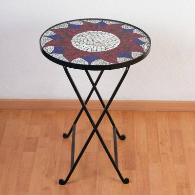 Stained glass table, 'Evening Sunflower' - Stained glass table