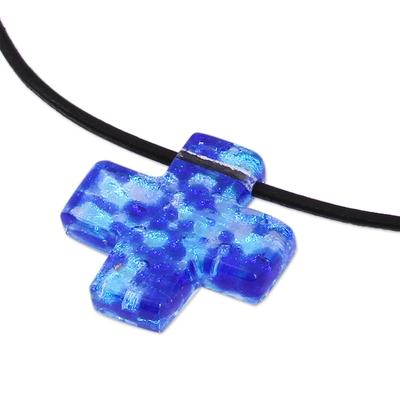 Dichroic art glass cross necklace