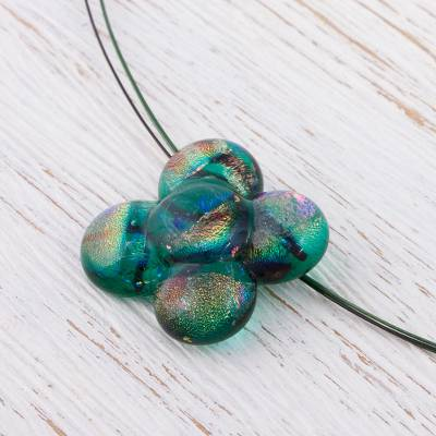 Dichroic art glass jewelry set, 'Button Blossom' - Floral Art Glass Pendant Jewelry Set from Mexico