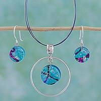 Dichroic art glass jewelry set, 'Hypnotic Blues' - Dichroic art glass jewellery set