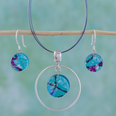 Dichroic art glass jewelry set, 'Hypnotic Blues' - Dichroic art glass jewellery set
