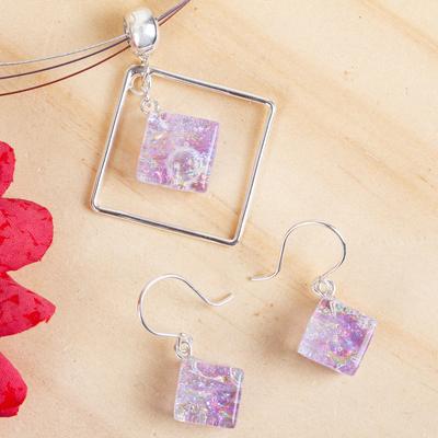 Dichroic art glass jewelry set, 'Dancing Diamond' - Modern Art Glass Pendant jewellery Set