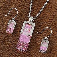 Dichroic art glass jewelry set, 'Cherry Crush' - Dichroic art glass jewelry set