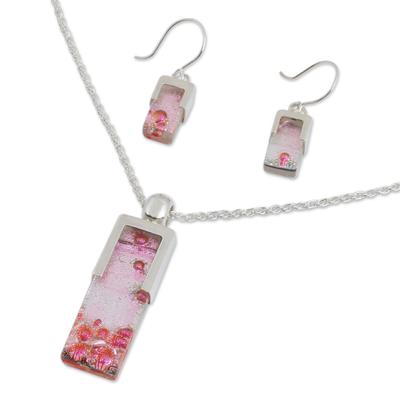 Dichroic art glass jewelry set, 'Cherry Crush' - Dichroic art glass jewelry set