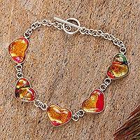 Dichroic glass bracelet, 'Hearts of Passion'