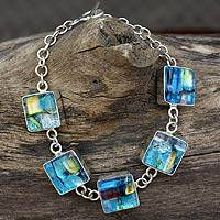 Dichroic glass link bracelet, 'Urban Blues'
