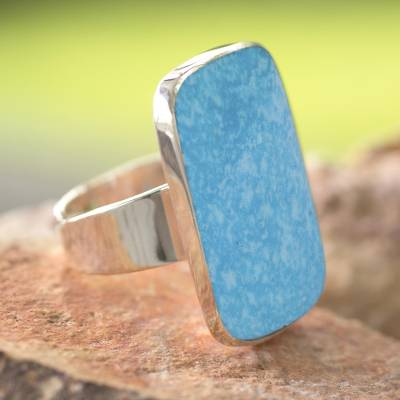 Turquoise wrap ring, 'Caribbean Mosaic' - Handcrafted Natural Turquoise and Silver Wrap Ring