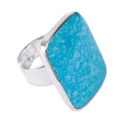 Turquoise wrap ring, 'Caribbean Mosaic' - Handcrafted Natural Turquoise and Silver Cocktail Ring