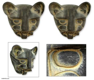 Ceramic masks, 'Jaguar Relics' (pair) - Handcrafted Mexican Ceramic Wild Cat Masks (Pair)