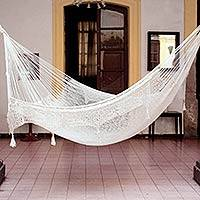 Hammock, 'Caribbean Sands' (double) - Hand Made Beige Cotton Mayan Hammock (Double)
