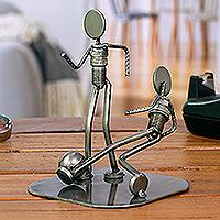Auto parts sculpture, 'Rustic Soccer Champs'