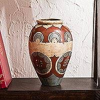 Ceramic vases, '1001 Nights' - Mexico Handmade Burnished Clay Decorative Vase