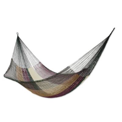 Hammock, 'Mother Earth' (single) - Unique Striped Mayan Hammock (Single)
