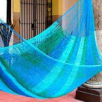 Hammock, 'Sea Breeze' (single) - Striped Rope Hammock from Mexico