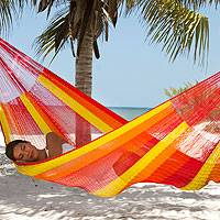 Hammock, 'Tequila Sunrise' (single) - Artisan Crafted Mayan Hammock (Single)