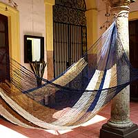 Hammock, 'Atlantis' (single) - Handcrafted Fair Trade Nylon Hammock from Mexico
