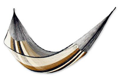 Hammock, 'Atlantis' (single) - Mayan Rope Style Handmade Single Easy Travel Mexico Hammock