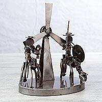 Auto part statuette, 'Rustic Quixote and Sancho' - Recycled Metal Handcrafted Sculpture from a Classic Tale