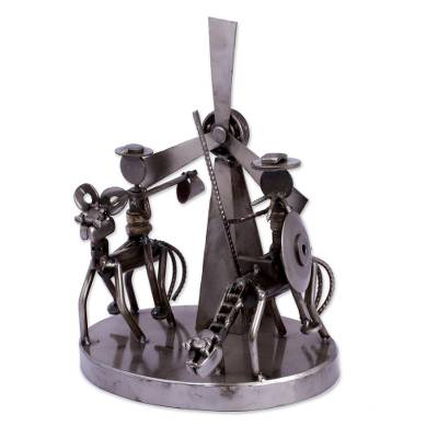 Auto part statuette, 'Rustic Quixote and Sancho' - Recycled Metal Sculpture with Auto Parts from Mexico