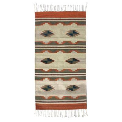 Zapotec wool rug, 'Green Visions' (2.5x5) - Authentic Zapotec Rug (2.5x5)