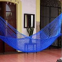 Hammock, 'Blue Sonata' (single) - Unique Bright Cobalt Mayan Nylon Hammock