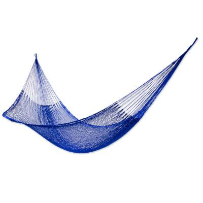 Hammock, 'Blue Sonata' (single) - Solid Rope Hammock (Single)