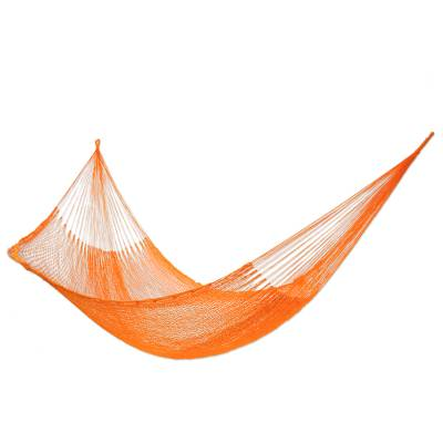 Hammock, 'Golden Maize' (single) - Handmade Mayan Rope Style Single Nylon Hammock Mexico