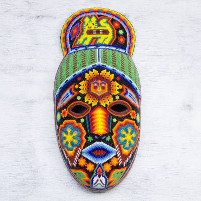 Beadwork mask, 'Messenger' - Unique Mexican Hand Beaded Papier MacheHuichol  Mask