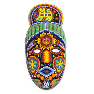 Beadwork mask, 'Messenger' - Unique Mexican Hand Beaded Papier MacheHuichol  Mask