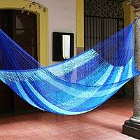 Hammock, 'Blue Caribbean' (single) - Hand-Woven Restful Hammock