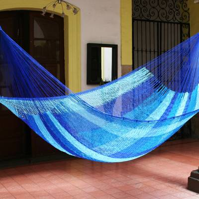 Hammock, 'Blue Caribbean' (single) - Artisan Crafted Rope Hammock (Single)