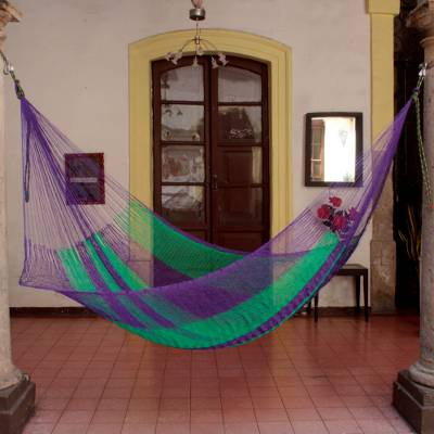Hammock, 'Green Vineyard' (single) - Mexico Handmade Mayan Rope Style Single Nylon Hammock