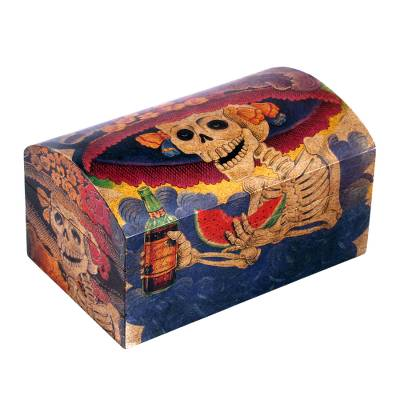 decoupage chest catrina my love day of the dead decorative wood box - Decorative Wooden Boxes