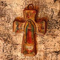 Decoupage cross, 'Guadalupe, Queen of Heaven' - Artisan Crafted Christianity Wood Cross