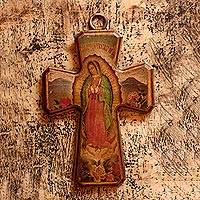 Decoupage cross, 'Virgin of Guadalupe: Queen of Mexico' - Decoupage cross