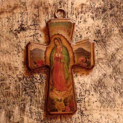 Decoupage cross, 'Virgin of Guadalupe, Queen of Mexico' - Decoupage cross