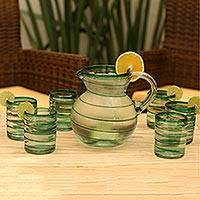 Drinking glasses, 'Emerald Spiral' (set of 6) - Handcrafted Handblown Glass Recycled Striped Water Drinkware
