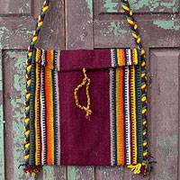Wool shoulder bag, 'Zapotec Fiesta' - Handmade Women's Wool Striped Shoulder Bag
