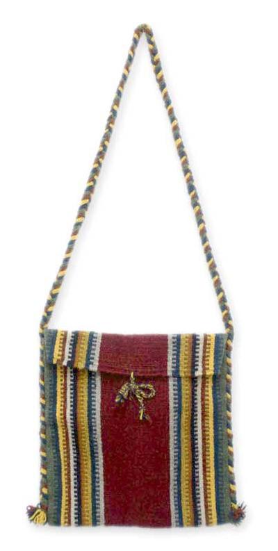 Wool shoulder bag, 'Zapotec Fiesta' - Handmade Women's Wool Striped Shoulder Bag