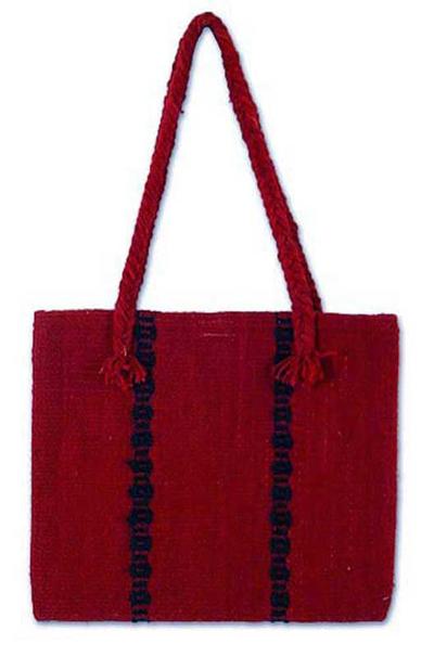 Wool handbag, 'Zapotec Red' - Unique Women's Wool Tote Handbag