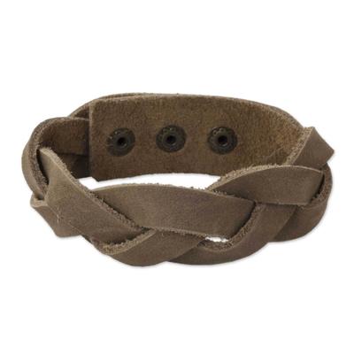 Men's leather wristband bracelet, 'Honey Braid' - Men's Leather Wristband Bracelet